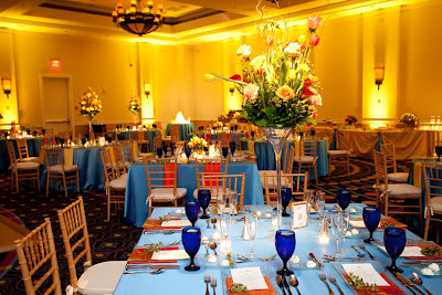 Wedding, blue, orange, tangerine, Hilton Virginia Beach, Isha Foss Events