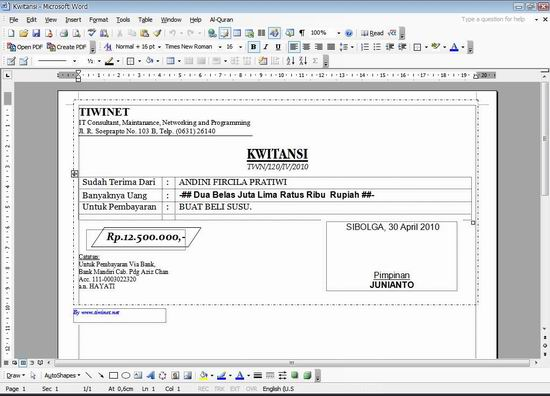 Image Membuat Kuitansi Pembayaran Dengan Software Kwitansi Elektronik ...