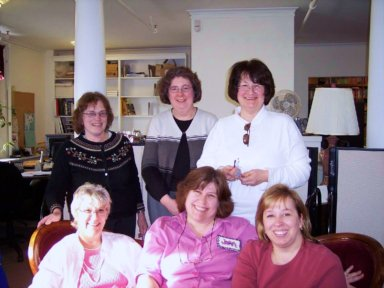 ConnecticutCrochet tats at the Bethel Library. LR: (front row) Avis, Joan our instructor, and Dee. (back row) Marietta, Priscilla and Grace