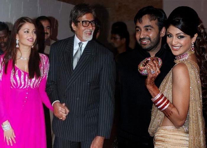 Amitabh Bachchan With Aishwarya Rai At Raj Kundra And Shilpa Shetty