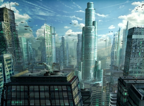Futuristic City & Space Craft