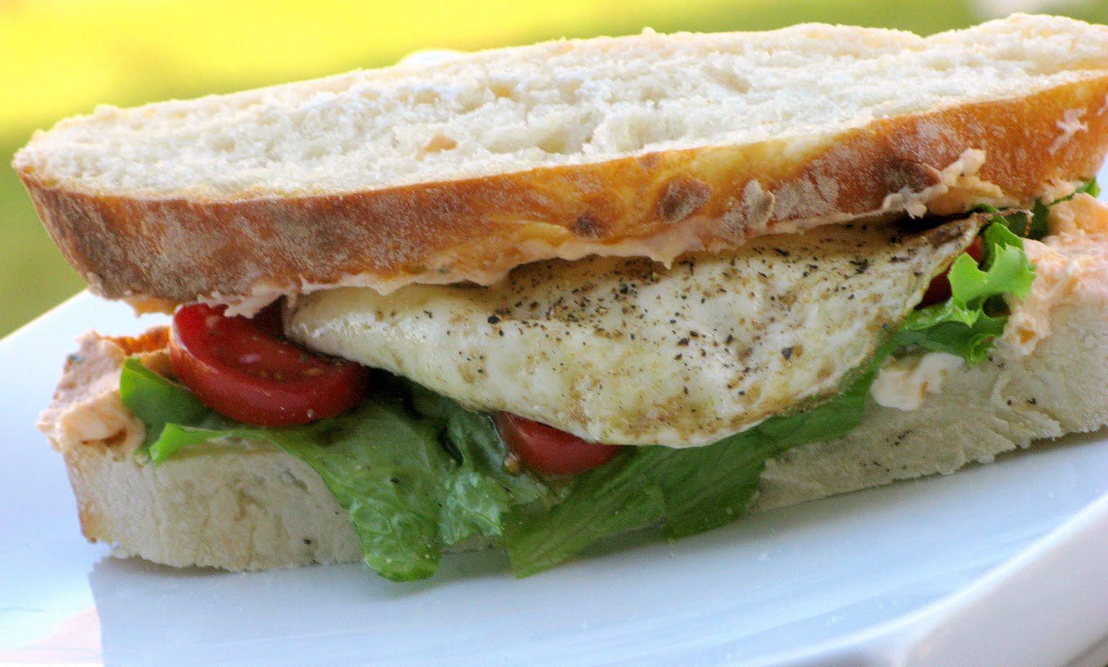 Fried Egg Sandwich with Cream Cheese-Cheddar Spread ...