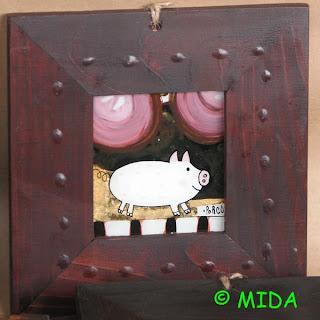 porc in pictura pe sticla