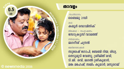 Thavalam - Malayalam Film Review: Directed by Baiju 2D; Story by Kaloor Dominique; Screenplay and Dialogues by Socrates Vaalaththu; Starring Suresh Gopi, Ridhya (Rithya), Baby Diya, Jagathy Sreekumar, Manka Mahesh, Nedumudi Venu, Sindhu Menon, Bijukuttan, Manraj.