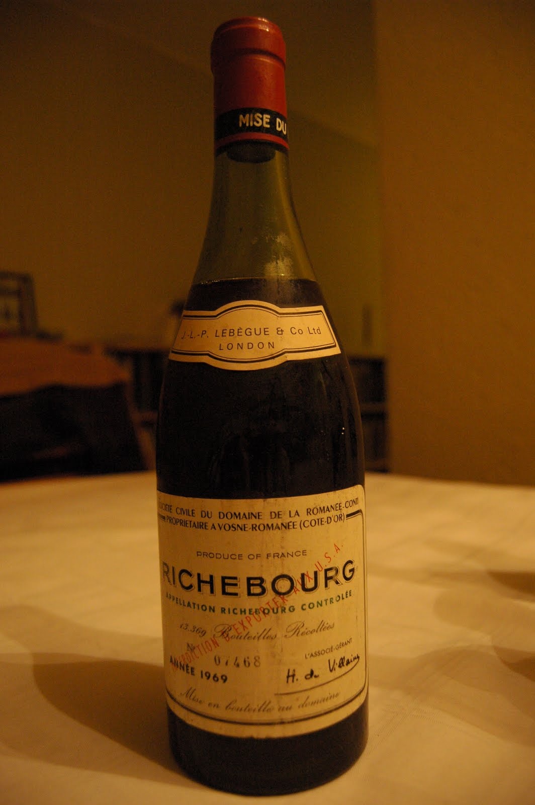 My Wines And More 1969 DRC Richebourg