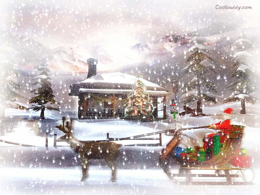 Santa in Cart by beautifulwallpapers.blogspot.com