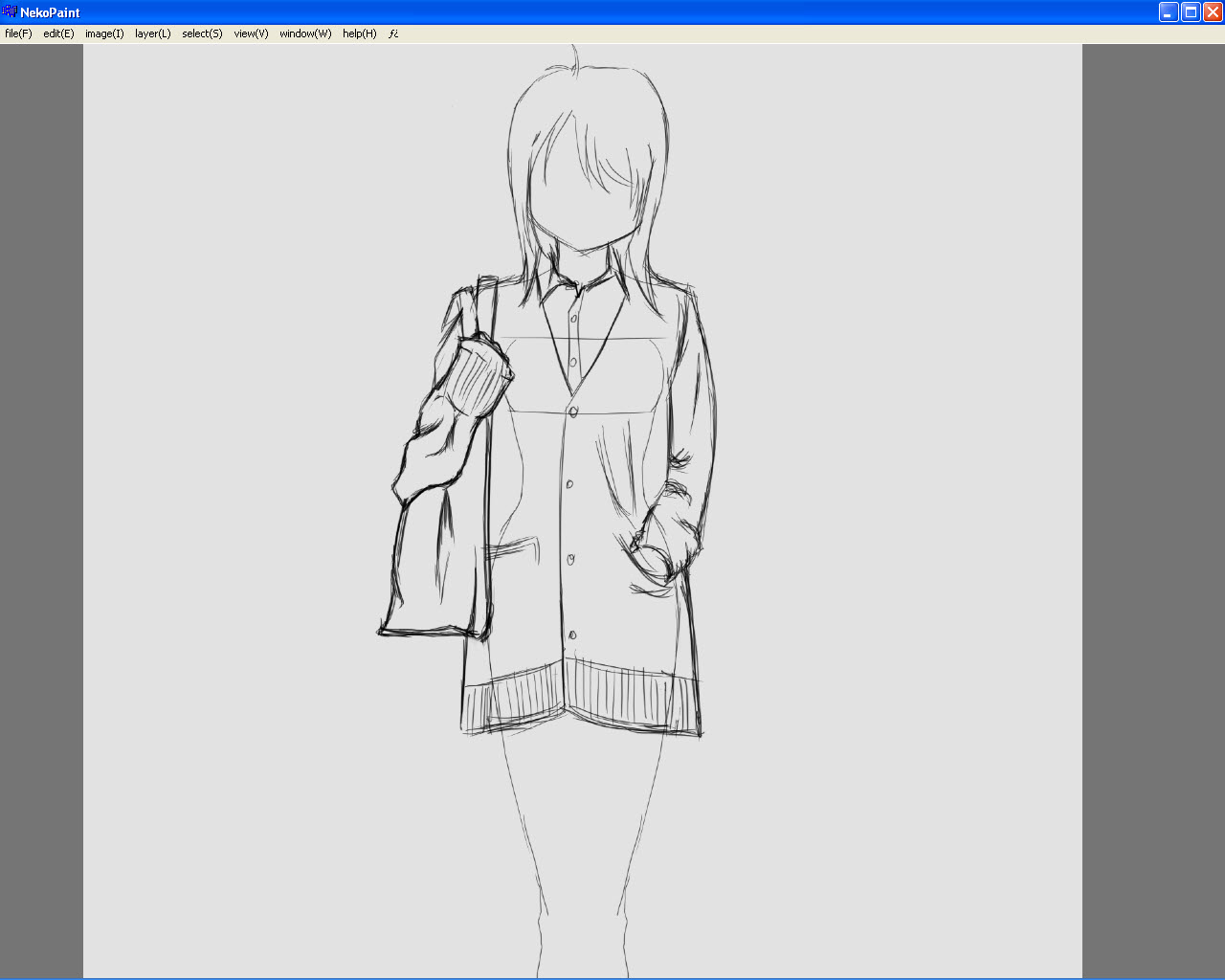 How To Draw Manga Face, Here I Finished The Clothes For The Upper Body  Along With The Bag Notice That I