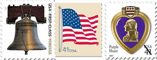 Forever Liberty Bell, American Flag, Purple Heart stamps