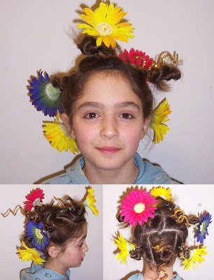 Tacky Day Hair Ideas http://funfrillsnmore.blogspot.com/2010/03/crazy-hair-day-at-school.html