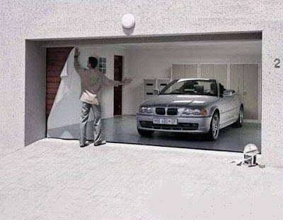 cool illusion of  parked car