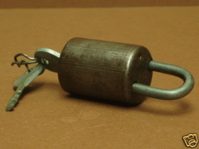 Vintage 1950s French Iron Cylinder 6 Lever Padlock