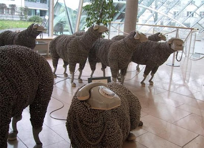 Creative Sheep Sculptures Made From Rotary Telephones (10) 5