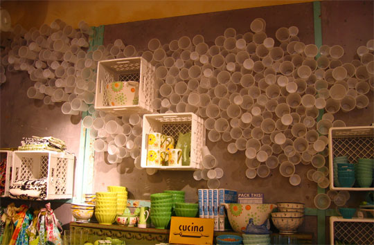 Creative and alternative uses of plastic cups for Anthropologie store decoration ideas