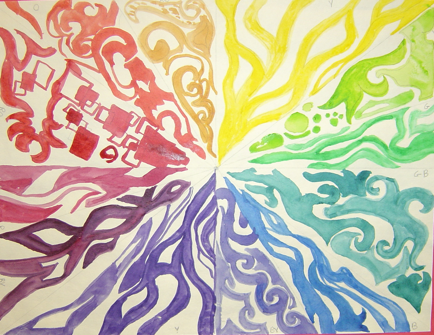 sinking springs art 5th grade creative color wheels. Black Bedroom Furniture Sets. Home Design Ideas