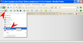barra de ferramentas google toolbar no navegador para encurtamento de URL para twitter