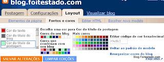 cores da fonte, cor de fundo e cor do titulo do blogger