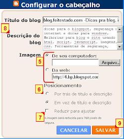 descriçao do blog, posicionar logotipo no blogger e salvar