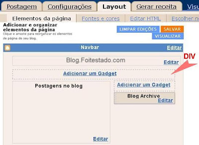 Adicionar nova area de gadget no layout do blogger