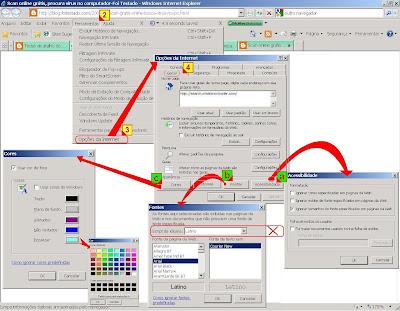 Opçoes de fonte e estilo no internet explorer7 ou 8, aumentar cores de fonte, tipo de fonte