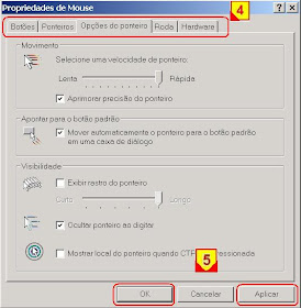 mudar efeitos do mouse no windows
