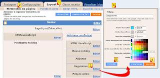 Editar, excluir ou mudar um gadget no blogger