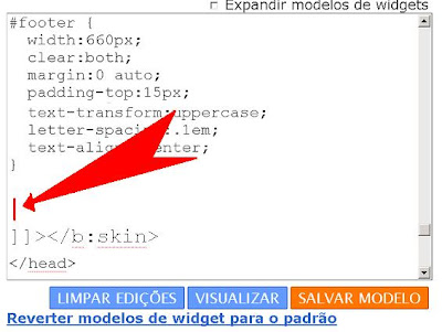 adicionar código no Css blogger