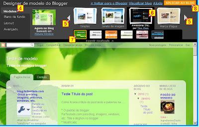 designer de novos modelos de template do blogger