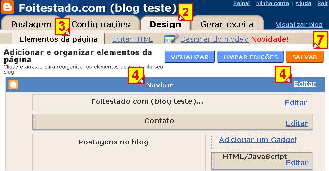 Elementos da página, mudar navbar no blogger