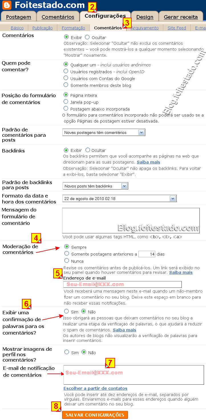 Configurar a moderação de comentarios de blogs do blogger