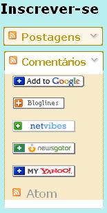 gadget de inscrição em feed, cores amarelo ouro ou laranja