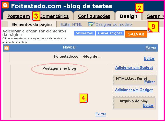 Elementos do blogger, personalizar area de postagens