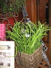 A basket of faux Spring pearl grass!