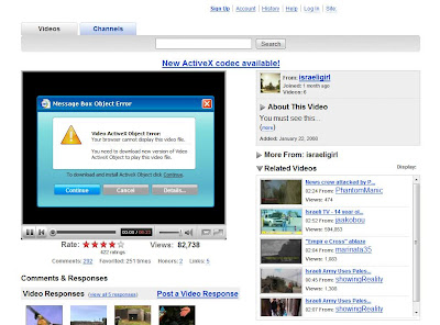 Screenshot of fake Youtube site