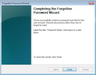 Password Reset Disk created