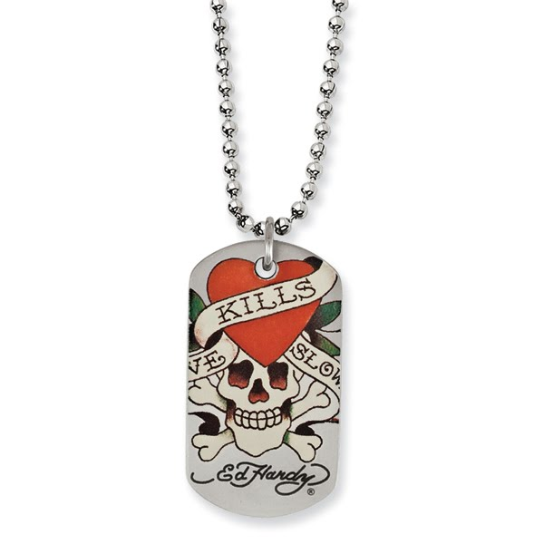 Stainless Steel Ed Hardy Skull Dog Tag