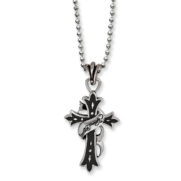 Stainless Steel Ed Hardy Antiqued Cross Necklace