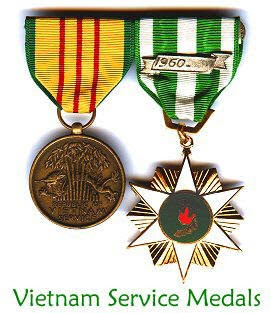 Vietnam Service Medals awarded to those who served in the Vietnam ...