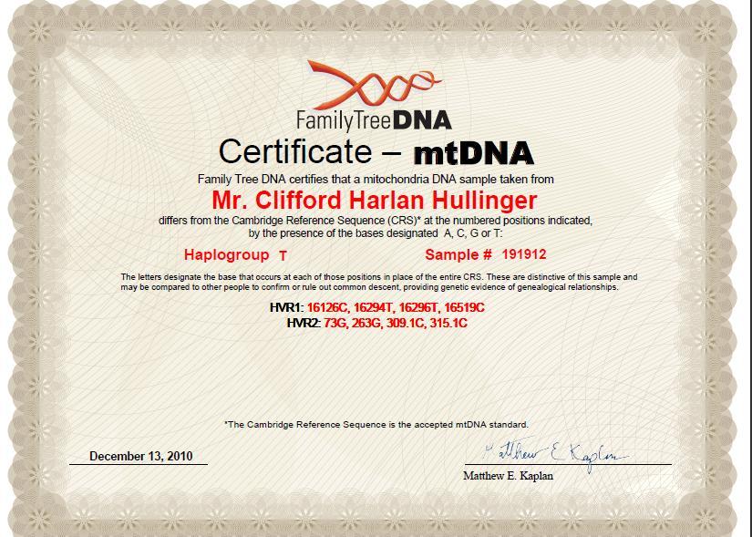 Pearl Harlan Maternal MtDNA