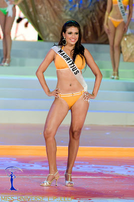 Olivia Carey, Miss Mauritius 2008 poses onstage in her BSC Swimwear and Nina Shoes