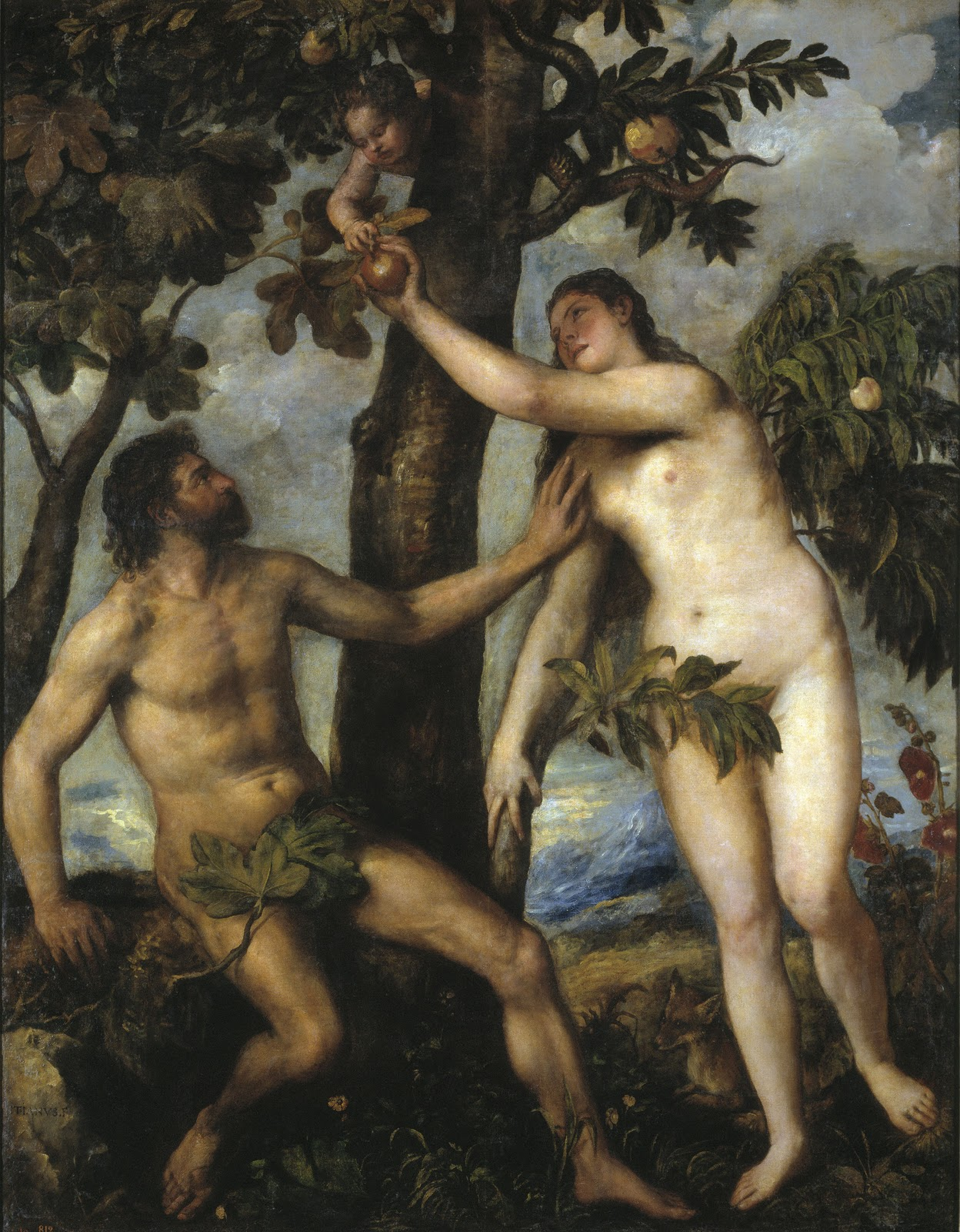 Adam and Eve: paintings by Titian and Rubens
