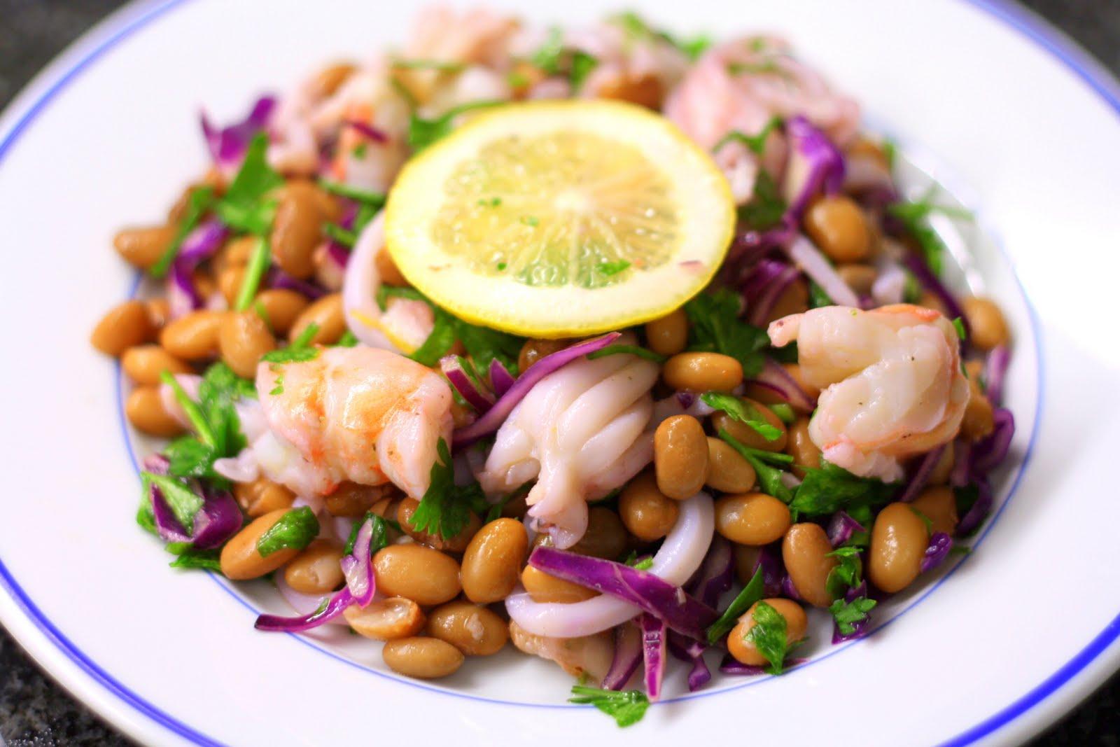 Салат с креветками и фасолью рецепты с