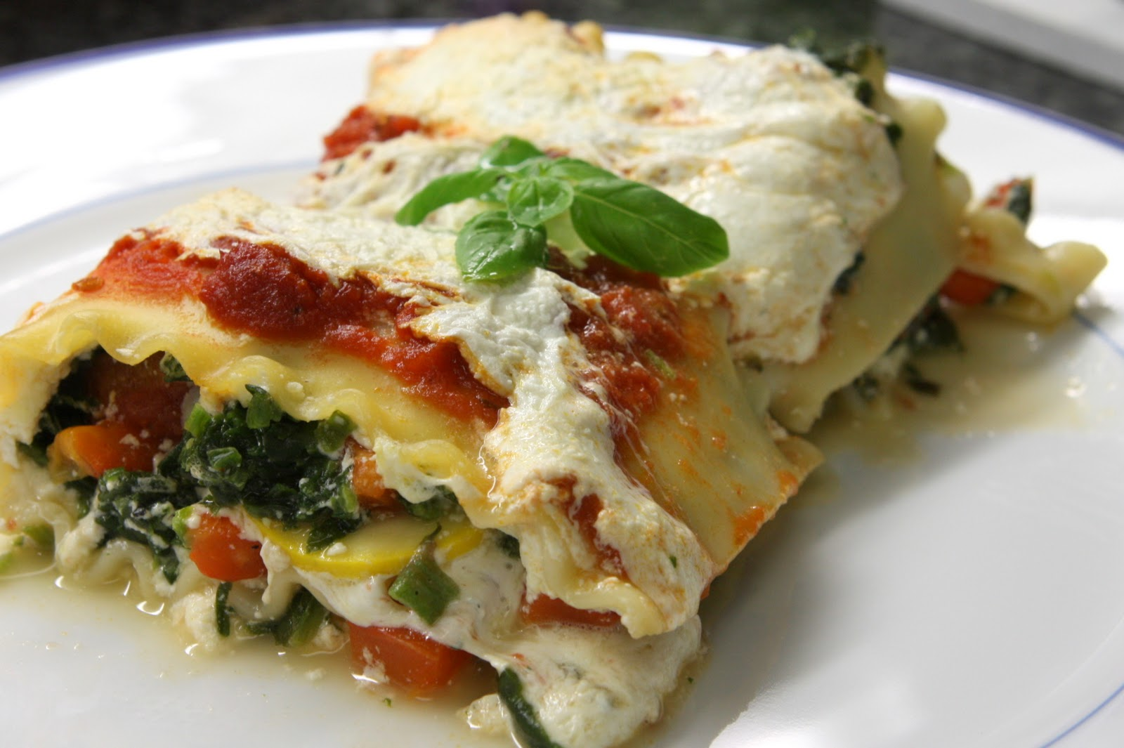 Fresh Local and Best: Roasted Red Bell Pepper and Spinach Lasagna
