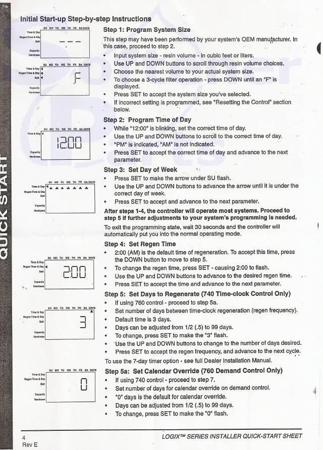 Water Softener And Filter Repairs Autotrol Logix Timer Programming