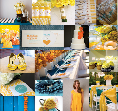 Inspiration Board Mustard Marigold and Teal teal and yellow wedding