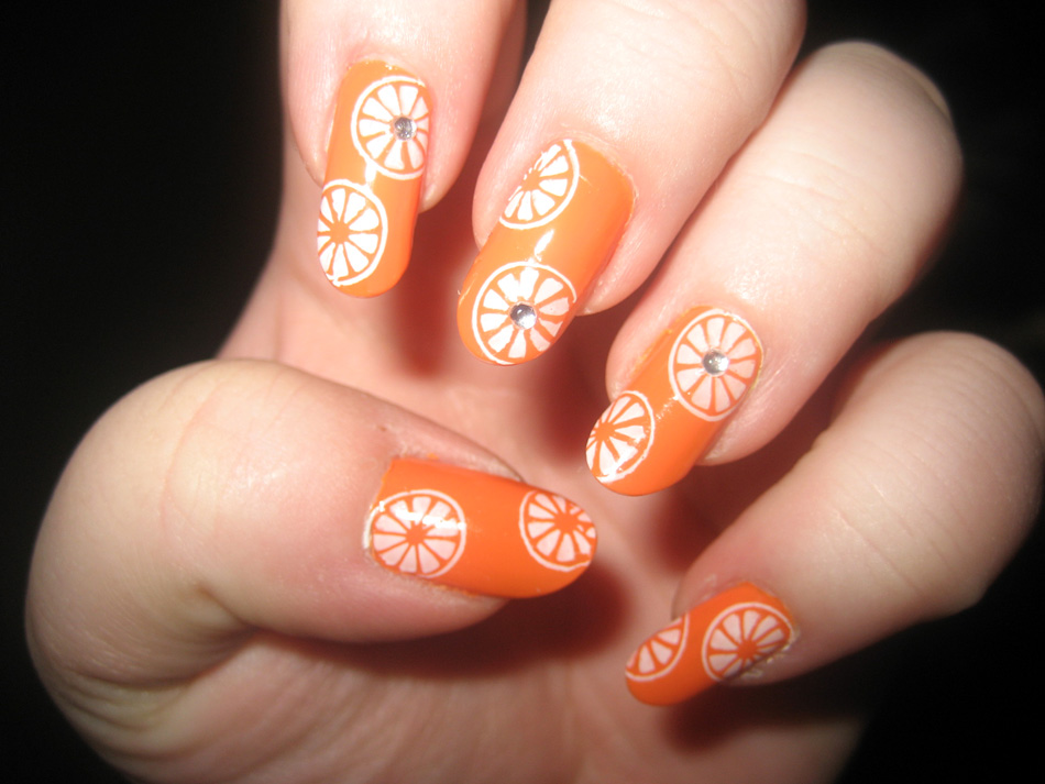 Nail Art World - gallery of nail design: Orange Juce manicure and ...