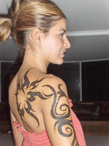 Nude Girls With Tattoos. Tribal Henna Tattoo on the