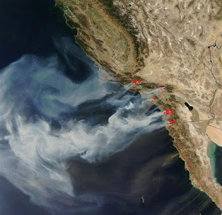 2007 San Diego wildfires from satellite