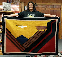 Navajo Rug Weaver Eleanor Yazzie with Feathery Escape Rug
