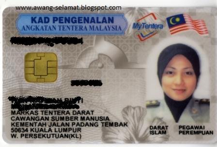 Awe Selamat Kad Pengenalan Pintar Angkatan Tentera Malaysia