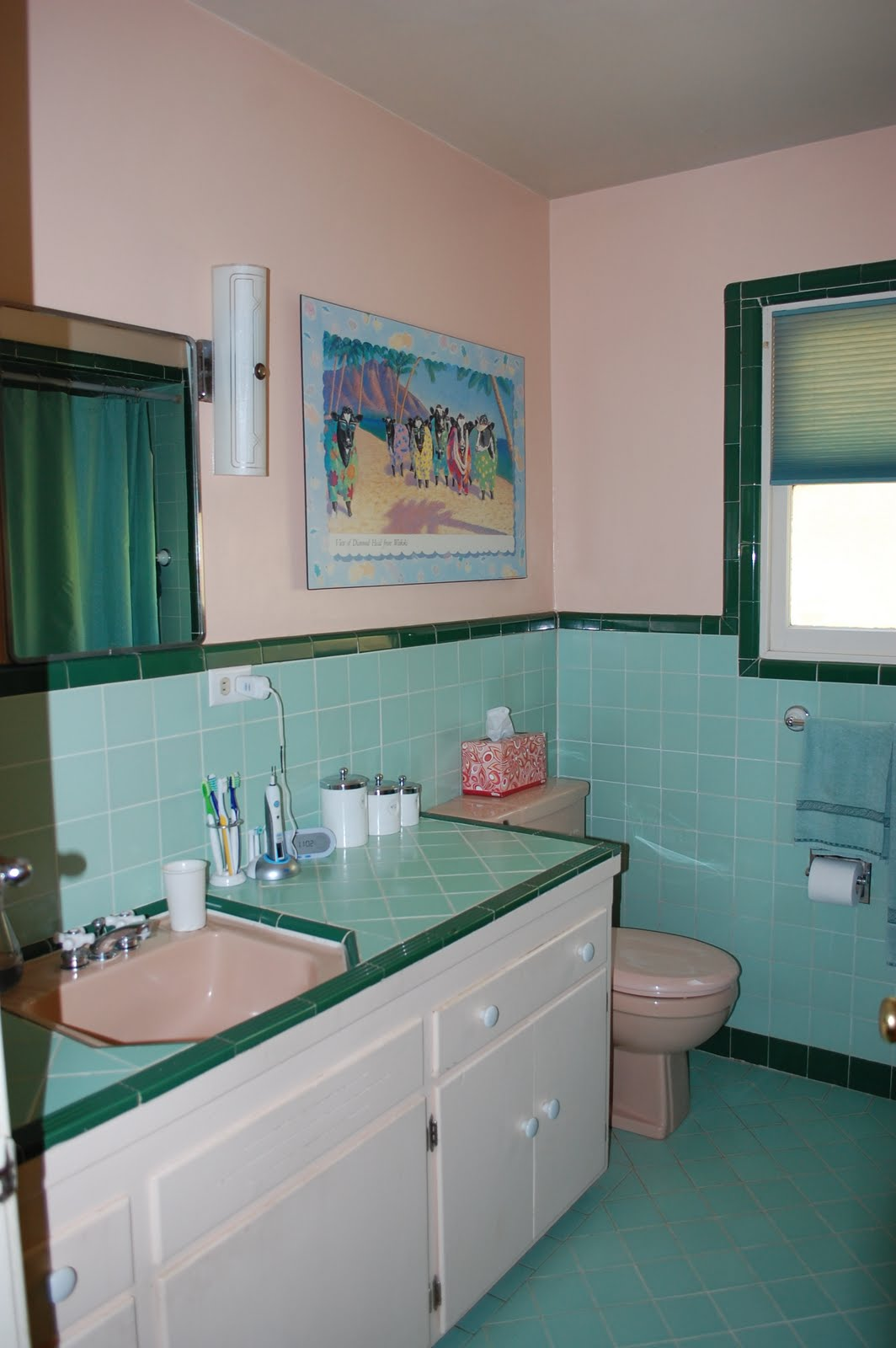 Color marie in praise of 1950 39 s bathrooms for Salmon bathroom ideas
